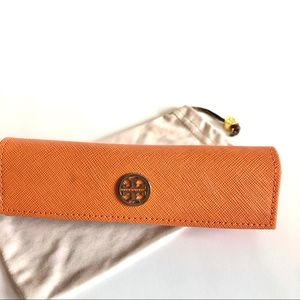 Tory Burch Orange Eyeglass Hard and Soft Case